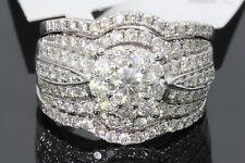 10K WHITE GOLD 1.94 TCW CENTER .25 CT DIAMOND ENGAGEMENT RING WEDDING BANDS SET