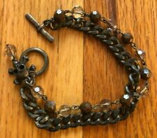 Beaded Chain Men's Bracelet Jewelry H&M Skull Olive Green Metal &