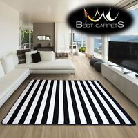 AMAZING THICK MODERN RUGS SKETCH WHITE BLACK F758 STRIPES SIZE BEST-CARPETS
