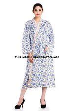 Women's Bath Robe Dressing Gown Wrap Warm Indian Block Print Sleepwear Handmade