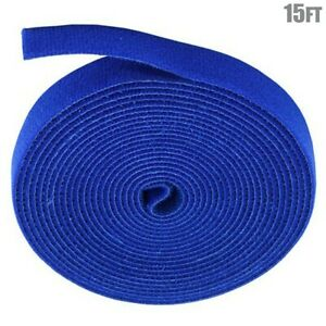 15FT Hook and Loop Self-Attaching Reusable Cable Tie Fastening Tape Roll Blue