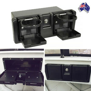GLOVE BOX STORAGE with folding Drink Holders RECESSED BOAT COMPARTMENT &KEY LOCK