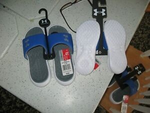 UNDER ARMOUR Boys Playmaker Slides/Sandals, Blue/Silver & White, NWT, MSRP-$26