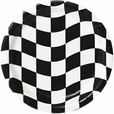 CHECKERED FLAG RACING LARGE PAPER PLATES (8) ~ Birthday Party Supplies Dinner