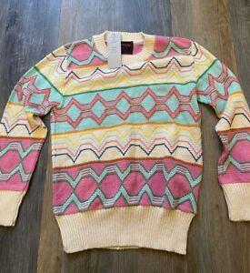 Urban Renewal De Rotchild Knitted Pattern Jumper Multicoloured S UK 8 Vintage