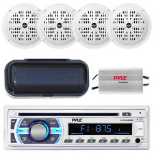Marine AM/FM Silver Radio Stereo System & Bluetooth & Cover +400W Amp 4 Speakers