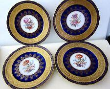 4 VICTORIA PEERLESS GOLD ENCRUSTED COBALT BLUE DINNER PLATES CZECHOSLOVAKIA USA