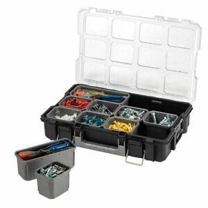 Husky 10-Compartment Interlocking Small Parts Organizer, Black