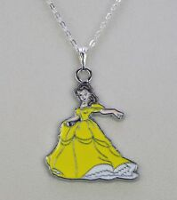 Enamel alloy Disney princess Belle Beauty & Beast pendant necklace silver chain