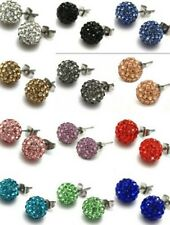 25 pair/lot mixed 15 random color 10mm hot crystal shamballa earrring studs gift