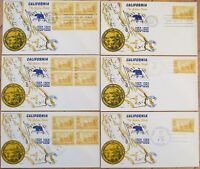 FDC: SIX 1950 California CA Statehood Centennial, Blocks & Singles 3 Diff Cities