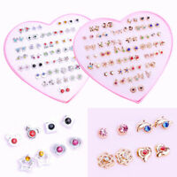 36 Pairs Women Girls Crystal Diamante Flower Stud Earrings Fashion Jewelry Set