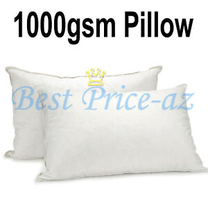 New 2 x 1000gsm Firm Support Pillow Pair Extra Filled Thick Anti Allergenic