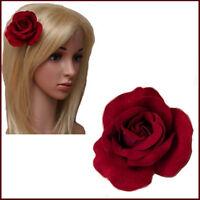 Rose Hair Clip Burgundy Forked Beak Fabric Flower Bridal Prom Wedding Brooch Pin