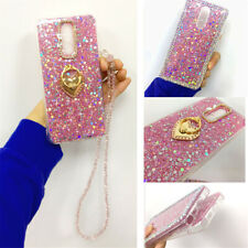 Bling Glitter Heart Ring Stand Crystal Chain Lanyard Case Cover For Cell Phone