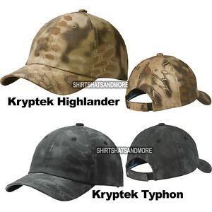 Mens Camo Baseball Cap Kryptek Highlander Typhon Unstructured Garment Washed Hat