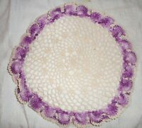 Vintage Hand Crocheted Doily Verigated White Purple Scallop Edge Handmade 14""