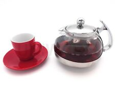 A10032 Stainless Steel Glass TEA POT Teapot with S.S Strainer filter 700ML