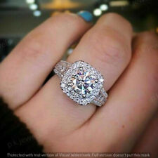 2.00Ct Round-Cut Brilliant Diamond Halo Engagement Ring 14k White Gold Finish
