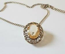 ANTIQUE STERLING SILVER CITRINE PENDANT NECKLACE OR BROOCH