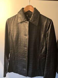 Leather Jkt  Womens Italian New Size  42 Black