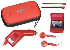 Nintendo DS Lite Travel Case & Charger Kit, Earphones, Stylus, Red