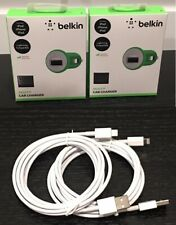 2-Pack Belkin 2.1A Car Charger & 2-Pack 7FT Data Cable for iPhone/iPad/iPod