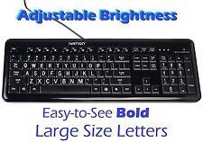Ivation Large Print Full Size Multimedia USB White Backlit LED Lighted Keyboard