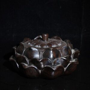 Collect noble Decor Natural rosewood huali wood carved lotus Incense burner