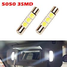 2 x Xenon White 3-SMD 6641 LED Bulb For Car Sun Visor Vanity Mirror Fuse Lights