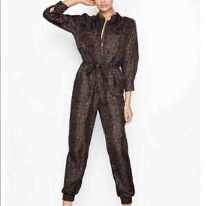 Victoria's Secret Jumper Romper FLIGHT SUIT Overall Brown Leopard Print - LARGE