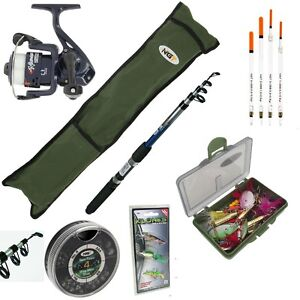 NGT COMPLETE FISHING SET 6FT ROD AND REEL STARTER SET TRAVEL BAG FLOATS TACKLE