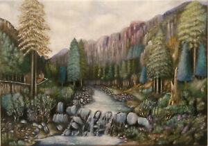 The Pass of Aberglasyn,Wales - Canvas Print of Landscape Painting 30x20cm signed