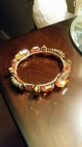 GOLD AND BRONZE BEAD COPPER WIRE WRAPPED BRACELET
