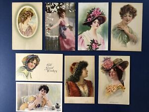 8 Pretty Ladies Greetings Antique Postcards, 1900s. Colorful & Attractive. NICE