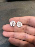 Vintage Sterling Silver Handmade Earrings, 925 Silver Flower Studs