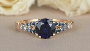 2Ct Round Cut Blue Sapphire Double Prong Engagement Ring 14K Rose Gold Finish