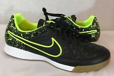 NEW NIKE Tiempo Genio Leather IC Indoor Soccer Shoes, Black/Black-Lime Sz: 8.5