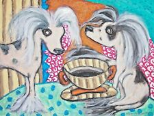Dog Art Print 5 x 7 Chinese Crested drinking Coffee by artist Ksams