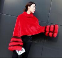Mink Fur Sweater Women Pullover Warm Coat Detachable Fox fur Ruffle Sleeve