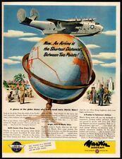 1945 MARTIN Aircraft - Martin Mars Cargo Carrier- Plane- Globe- VINTAGE AD