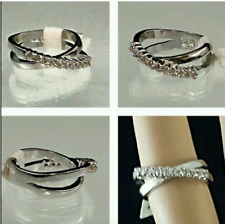 Silver Plated  Cocktail Ring CZ Size 5 Fashion Jewelry