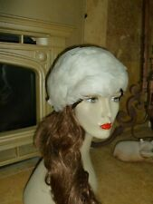 Vintage Hat Cap Real White Bird Feathers w Stretch Net Will Fit Most Yugoslavia