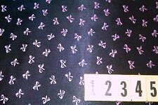 Polyester Satin Fabric Black Pink Bow Print - 100cm X 150cm - by DCF