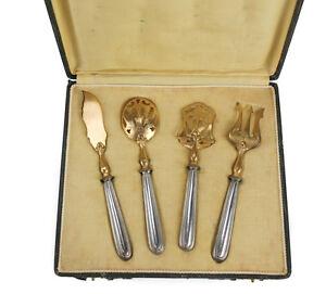 4pc Louis Mainz 800 Silver Gold Vermeil Hors D'oeuvre set 1912 presentation case