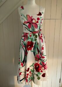 M&S COLLECTION IVORY MIX POPPY & FLORAL STRETCH COTTON SKATER DRESS 10 38 NEW