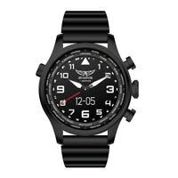 AVIATOR 3-Hand Analogue Movement LED Screen Smart Pilot Watch Silicone Band