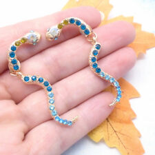 Zirkonia Schlange Snake Tier Design türkis blau gold Ohrringe Ohrstecker neu