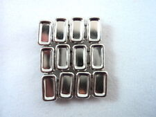12 Plain Concave Rectangle Silver Tone Studs Clothing Leather 3/8""