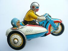 Vintage MS-709 CHINA #605 Wind Up Tin Toy MOTORCYCLE with SIDECAR